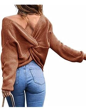 Emma Mujer Jersey de Punto Primavera Suéter de Cuello V de Espalda de Las Mujeres Knit del Batwing Oversize Ancho...