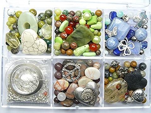 Edelstein Perlen Schmuck selber machen Set | Halbedelsteine | Bastelperlen | Schmuckperlen | Schmucksteine Set | Ketten u. Armbänder selber machen inkl. Schmuckzubehör u. Anleitungen