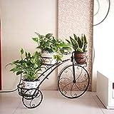 CJ&WIN Portafiori Stile Bicicletta Auto per Fiori Arte del Ferro Multistrato da Terra Balcone Interno ed Esterno Soggiorno Vaso da Fiori Scaffale Scaffale per stoccaggio (Colore: B)