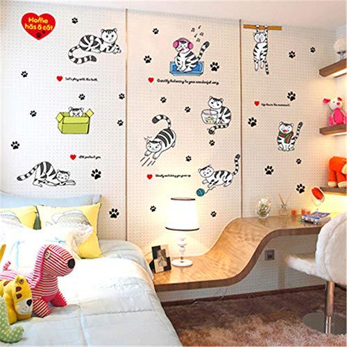 Katze Aufkleber Wandaufkleber 3D Stereo süße warme Schlafzimmer Nachtwandmalerei dekorative Aufkleber E 60cmX90cm