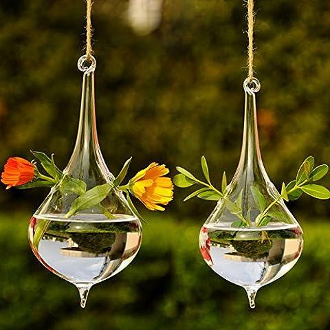 Bluelover Hängende Wasser Tropfen Form Glas Blume Vase Home Party Dekoration
