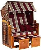Möbelcreative Strandkorb Ostsee XXL Volllieger 2 Sitzer - 120 cm breit - Burgund rot weiß gestreift inklusive Schutzhülle