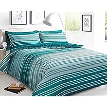Sleepdown Textured Stripe Teal Duvet Cover & Pillowcase Set Bedding Quilt Case - King