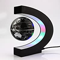 Yosoo C shape Decoration Magnetic Levitation Floating Globe World Map LED Light - Christmas Gift