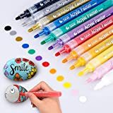 Acrylic Paint Marker Pens, Morfone Set of 12 Colors Paint Pens Water Based Markers for Rock Painting, Canvas, Photo Album, DIY Craft, School Project, Glass, Ceramic, Wood, Metal (Medium Tip)