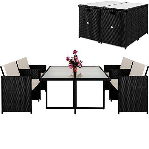Deuba Poly Rattan Sitzgruppe 4+1 | Cube Design | 7cm dicke Auflagen in creme| klappbare Rückenlehne...