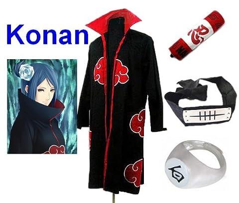 Naruto Akatsuki Konan Cosplay Kostüm Set (Akatsuki Cloak,Größe:XL: Höhe 177cm-184cm + Konan Stirnband + Konan Ring + Naruto (Konan Cosplay Set)