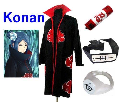 Sunkee Japanische Anime Naruto Cosplay Konan Set -- Akatsuki Mantel Umhang Größe M + Federmäppchen + Stirnband+ Konan - Konan Naruto Cosplay Kostüm