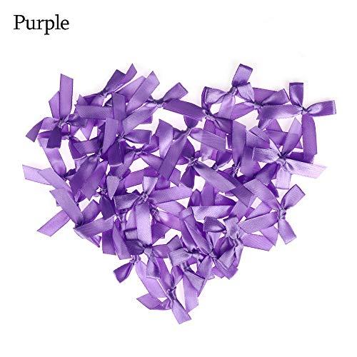 100PCS /Set Handmade Small Satin Ribbon Bow Appliques Nähen Craft DIY Kids Girls Kopfbekleidung Haarschmuck Accessoires -