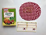 Dr Oetker Gelfix Classic 1:1 Pectin Sugar Mix with Doilies, Rubber Bands and Labels - One 60g Box of Jam Setting Agent, Enough for 3kg of Jam - Gelfix Jam Kit with Decorations