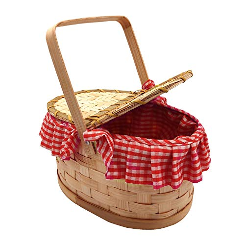 Red Riding Hood Woven Gingham Wood Basket Hamper Purse Dorothy Ladies Girls Fairytale Fancy Dress Costume Accessory Gingham Red Riding Hood