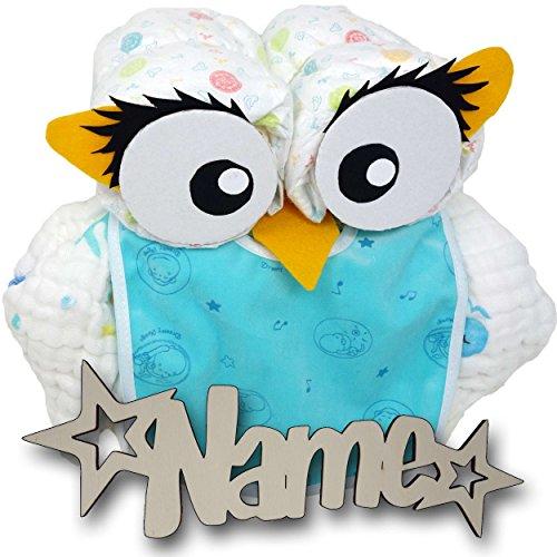 Babygeschenke personalisiert Windeltorte Eule mit Namen Set I Nachtlicht für Mädchen Junge I Lillydoo Windel