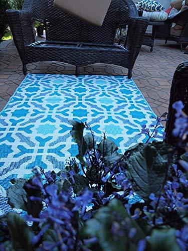Fab Hab - Seville - Multifarben - Blau - Teppich/ Matte für den Innen- und Außenbereich (90 cm x 150 cm)