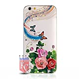 KC iPhone 6 / iPhone 6s - Beautiful Butterfly and Flowers Printed Pattern Crystal Diamond Case Soft Back Cover