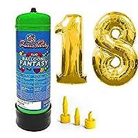 Bombola gas elio da 2,2 litri più palloncini in mylar alti 1 metri color oro per festeggiare al meglio il tuo compleanno