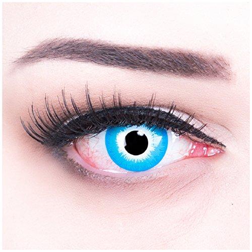 Funnylens 1 Paar farbige blaue weisse Crazy Fun Blue Elf Jahres Kontaktlinsen + 4 BLUTKAPSELN. perfekt zu Halloween, Karneval, Fasching oder Fasnacht mit gratis Kontaktlinsenbehälter ohne (Kostüm Elf Frauen Halloween)