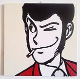 Lupin III Quadro Pannello Legno MDF Dipinto A Mano Comic Effect (Formato 30 X 30 CM)