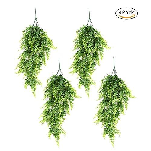 Künstliche Lvy Fake Aufhängen Vine Pflanzen Faux Kunststoff grün Pflanze Farne Blumen Vine für Home Wand Dekoration Innen Außen Hängekorb, Plastik, grün, 4er-Packung