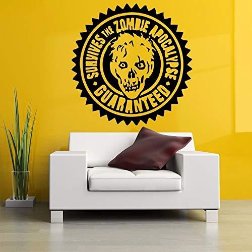 Zombie Stamp Head Wall Stickers per Soggiorno Decorazione di Halloween Carta da Parati Home Sticker Vinyl Decals Background Murales 42X42cm Rosso