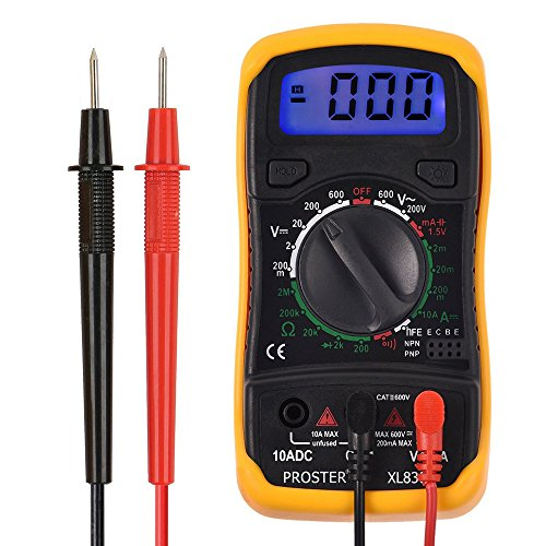 Proster Digitaler Multimeter mini digitaler Multimeter Tester DMM DC AC Strom Spannung Ohm mit LCD Hintergrundbeleuchtung