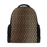 MONTOJ Goldene Dreiecke Polyester Reise Rucksack Laptop Rucksack