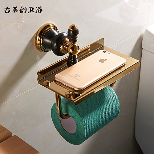 Accesorios de baño Yomiokla - Toalla de metal para cocina, inodoro, balcón y bañoEuro-adornos de cobre negro oro viejo construido en estante toallero de papel americanos