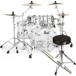 PEARL CRB524P C730 Crystal Beat Fusion Shell Set Acrylic + Keepdrum Stool and Sticks