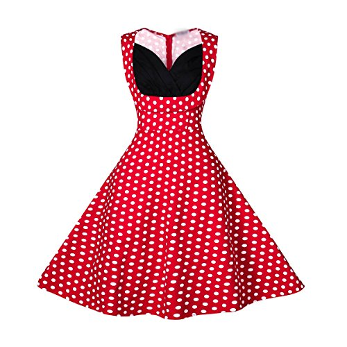 Dissa M116918D Robe de bal Vintage pin-up 50's Rockabilly robe de soirée cocktail,S-XXXXL Point rouge