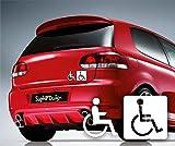 Rollstuhl Aufkleber 19x10cm Hochleistungsfolie in Weiss