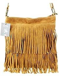 OLIVIA - Sac à main / bandoulière Cuir velours marron/camel RIMINI N1093 - Marron, Cuir