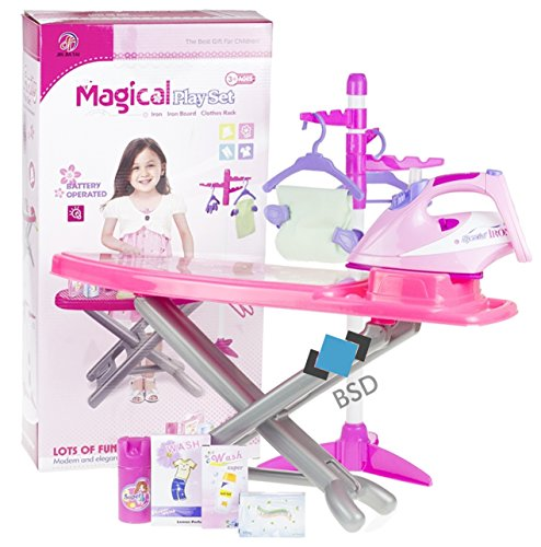 Haushaltsset für Kinder - Bügeleisen mit Lichteffekt, Bügelbrett, Vier Klammern und Zwei Bügelhaken, Bügeln Zubehör, Stoff - Kinder-Rollenspiele - Haushaltsspielzeug -
