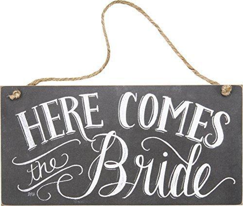 Funny Deko Schild Schilder hier kommt die Braut Kreide Schild Schild aus Holz zum Aufhängen für Home House Tür (Hier Braut Kommt Die)