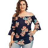 Overdose Plus Size Frauen Blumendruck Spitze Schulterfrei Flare Sleeve Damen T-Shirt Sommer Tops Bluse Shirt Oberteil(Navy,XXL)