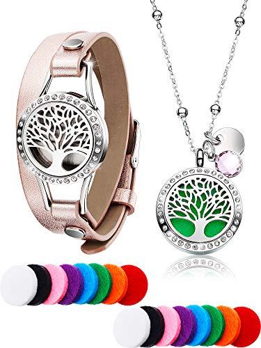 Chuangdi Tree Life Ätherisches Öl Diffusor Diamant-Halskette mit Edelstahl Aromatherapie Diamant Medaillon Lederarmbänder, 16 Stück Abwaschbare Nachfüllauflage aus Baumwolle Mädchen