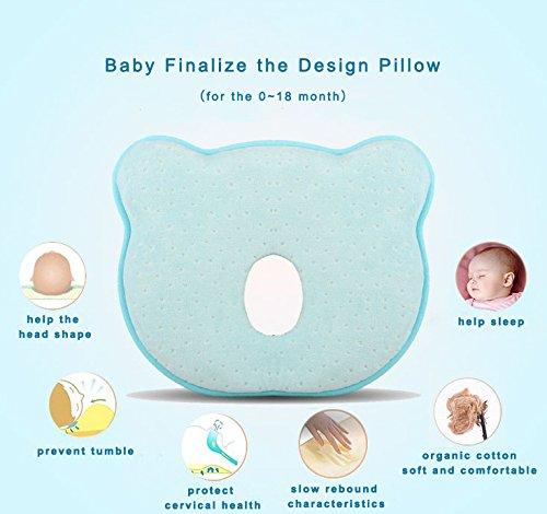 """^ Cuscino per bambini, Cuscino Romanstii per neonanti in memory foam, cuscino ergonomico per evitare la testa piatta cuscino di supporto per la testa per neonati (10×24 """"x 8.76 """"x 1.38 """", blu) lista dei prezzi"""