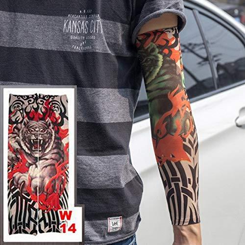 2 Stücke-Lange arm Tattoo hülse elastische Nylon arm socken schlangenförmigen Drachen Muster Tattoo weibliche 40 cm 2 Stücke- -