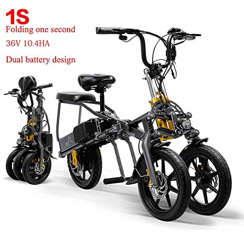 Qnlly 2 Batterien 36V 250W Faltbare Mini Tricycle Elektro-Dreirad 14 Inches 10.4Ah 1 Sekunde High-End E-Tricycle Folding Leicht