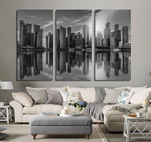 Schwarz und Weiß Singapur City Leinwand Schwarz Weiß City Art Stadtbild Wandbild Kunst Wall Art Decor Large Canvas Art Kunst Leinwand Stadtbild Art -