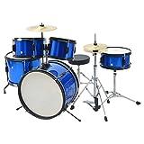 Festnight Junior Kinder Schlagzeug Komplettset Pulverbeschichteter Stahl Schlagzeug-Satz Schönes Geschenk Blau