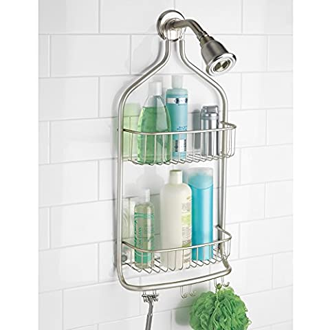 mDesign Bathroom Shower Caddy for Tall Shampoo, Conditioner, Soap - Extra Long, Satin