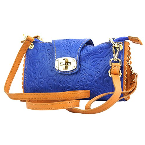 WEICHE KUHLEDER BE EXCLUSIVE KUPPLUNG MIT BLUMENMUSTER 8611S Electric blue-tan