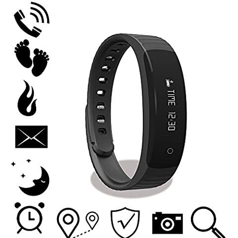 """OOXXOO BL-01 Bluetooth Sports Armband Fitness and Wellness Activity Tracker 0.86"""" OLED Smart Wristband with Alarm SMS Call Reminder Sleep Monitor Pedometer Calorie Counter Watch Activity Tracker IPX7 Waterproof for IOS and Android Smartphones (8 Extended Range)"""
