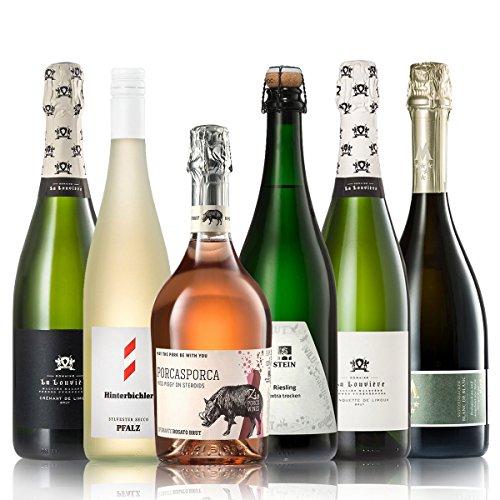 GEILE WEINE Weinpaket PRICKELNDES   6 x 0,75l Probierpaket mit Sekt, Crémant, Schaum- und Perlweinen von Winzern aus Deutschland, Frankreich und Italien