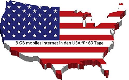 60 Tage Prepaid SIM Karte für USA, Puerto Rico, Hawaii & US Jungferninseln mit 3GB Daten Option für 60 Tage