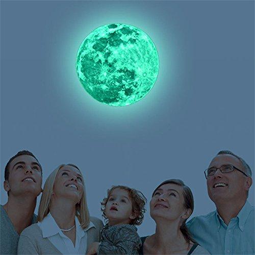 Vovotrade 5 cm 12 cm 20 cm 3D Großen Mond Fluoreszierende Leuchtende Wandaufkleber Abnehmbare Glow in The Dark Aufkleber Wohnzimmer Wohnkultur (Grün, 20CM) (Wohnkultur)
