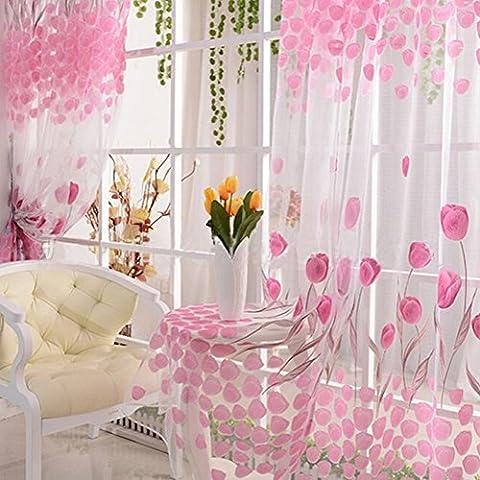 nsrzhp romantico tulipano floreale Tulle Voile Porta Tenda di Finestra Schermi sciarpa Mantovane Decorazione per finestre