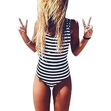 Rayas Una Pieza Trajes De Baño Mujer Bañador Beachwear Push Up Conjuntos Como Imagen L
