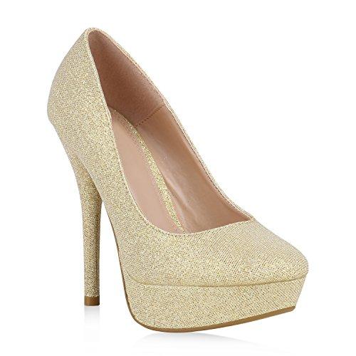 Damen Plateau Pumps Stiletto Party Schuhe Glitzer High Heels 160202 Gold Flandell