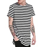 Ularma Herren Casual T-Shirt Lang Rundhals Streifenshirt Top (L, Schwarz)