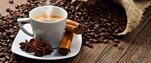 Artland Design Spritzschutz Küche I Alu Küchenrückwand Herd BxH: 120x50 cm sehr schnelle und einfache Montage Kaffeetasse und Leinensack mit Kaffeebohnen auf rustikalem Tisch 2